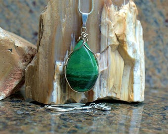 Verdite stone pendant pear shape silver wire wrapped with a silver plated necklace