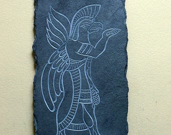 Anunnaki plaque black slate stone wall panel antiquated design hand carved home decoration