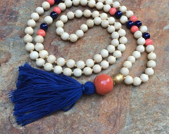 Long Beaded tassel necklace blue orange white wood beaded necklace long beaded Bohemian necklace boho necklace ladies jewelry