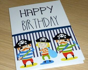 Boys Girls Kids Happy Birthday card - Pirates - 2nd 3rd 4th 5th 6th 7th 8th 9th - 3 pirates - handmade greeting card