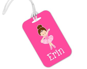 Ballet Bag Tag - Pink Girls Luggage Tag - Ballerina Backpack Name Tag - Ballet ID Tag - Stocking Stuffer