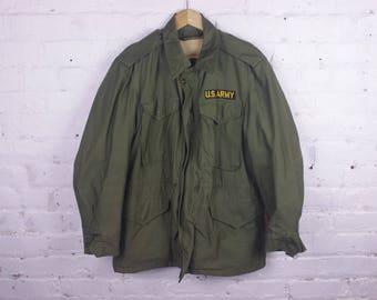 Military Army Jacket coat M-1951 US green lined Korean Vietnam era winter heavy M1951
