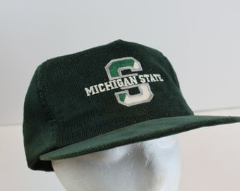 Michigan State 90s snapback corduroy hat cap snap