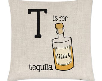 Letter T Is For Tequila Linen Cushion Cover