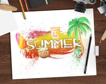 Watercolor summer decor, seasons watercolor print, 8x10 printable art download, seasonal art, digital watercolor print, jpeg + png