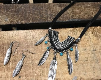 Leather feather necklace/earring set