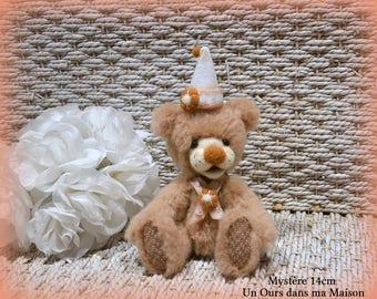 VENDU *** !! Mystère ours d'artiste de collection 14cm ours décoration alpaga laine feutrée OOAK peluche unique