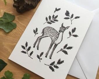 Fawn & Oak Greetings Card - Original Ink Illustration - Deer Card - Nature Card - Wildlife Card - Blank Greetings Card