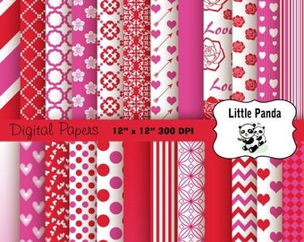 80% OFF SALE Valentine Digital Scrapbooking Papers 24 jpg files 12 x 12 - Instant Download - D204
