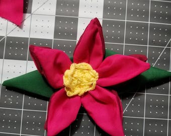 Red lovely flower hair clip