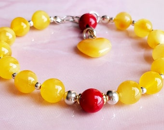 Butterscotch Egg Yolk Round beads Amber and Coral Bracelet