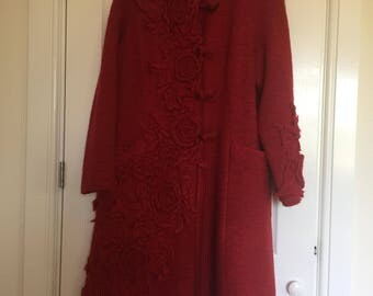 Designer Red Wool Coat, by Zuza-Bart