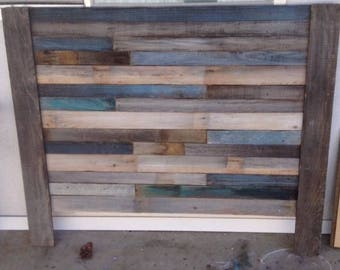 Blue Reclaimed Wood headboard