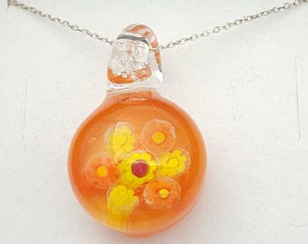 Tangerine bombshell, shocking orange, vibrant necklace, floral pendant, unique gift, cheerful jewellery, glass art