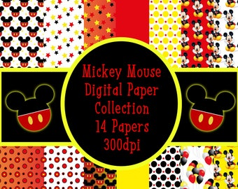 Mickey Mouse digital paper, scrapbook papers, wallpaper, mickey background, polka dots,red papers