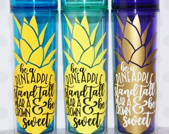 Personalized Pineapple Gifts Skinny Tumbler, Custom Pineapple Gifts, Bridesmaid Gifts, Bachelorette party, Pineapple Cup, Big little gift