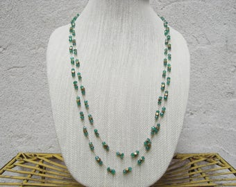 Very Long Green and Gold Glass Bead Necklace, Waist Length