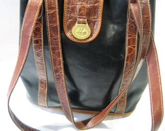 Vintage Brahmin Smooth Black Leather Tote Satchel with Croc Accents
