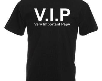 Personalized short sleeve V I P Grandpa T-shirt