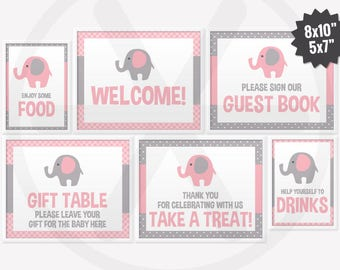 Baby Shower Table Signs Package. Printable Pink Elephant Baby Shower Signs. Welcome, Guest Book, Gift Table, Favor table, Drink - Food Signs