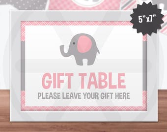 Pink Elephant Gift Table Sign. Printable Baby Shower Sign. Baby Girl Birthday Party Decorations. Pink and Grey Printables. Digital Download