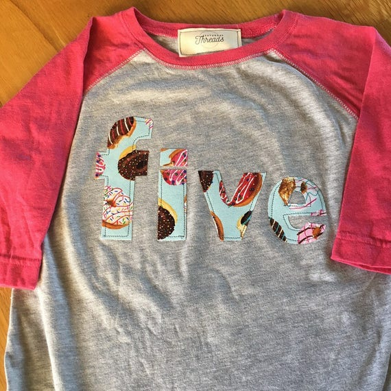 girls five donut party shirt, donut birthday party, birthday donut shirt, sprinkles pink raglan shirt, 1 2 3 4 donut birthday, party wear
