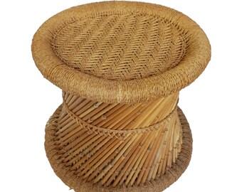 Vintage Bohemian Boho Bamboo Wicker Rattan Woven Planter, Wicker Table,  Plant Stand, Stool