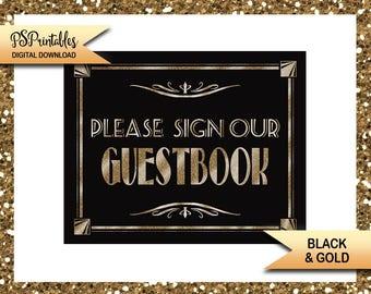 art deco wedding, gold wedding, gatsby wedding, great gatsby wedding, glitter gold, guestbook, guest book, guest book sign, instant download