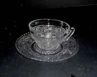 Clear Sandwich Glass, Cup and Saucer,   in excellent condition cup and saucer, pressed glass,  mid century, pressed glass