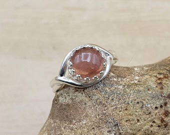 Pink Tourmaline ring. 925 sterling silver. October birthstone ring. Crystal Reiki jewelry. Adjustable ring. 8mm stone