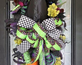 Halloween Swag, Wicked Witch Wreath, Halloween Door Swag, Front door Wreath, Halloween Decoration, Fall Wreath, Whimsical Wreath