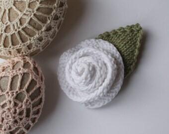 Knitted Brooch - Flower Brooch - White Rose - White Flower - Rose Brooch - Corsage - Hand Knitted - 100% Cotton - Rolled Rose - Green Leaf