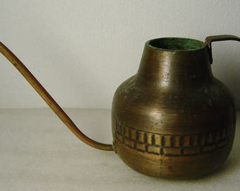 vintage 60s copper and brass watering can with cast iron handle