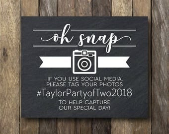 Oh Snap Wedding Sign - Wedding Hashtag Sign - Oh Snap Sign - Hashtag Sign Printable - Wedding Decor