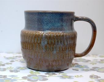 Handmade Blue light Purple Ceramic Coffee Tea Mug, functional pottery, rustic pottery, earthy, non-toxic glaze - ready to ship