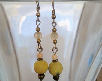Yellow Turquoise and Citrine Earrings with Mookaite