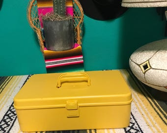 "Vintage 1970s Yellow ""Wil-hold"" Plastic Sewing Thread Box Spool Box"