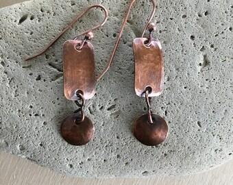 Women's Copper earrings - drop dangle - Double Disc earrings - Metal - Artisan - Handmade