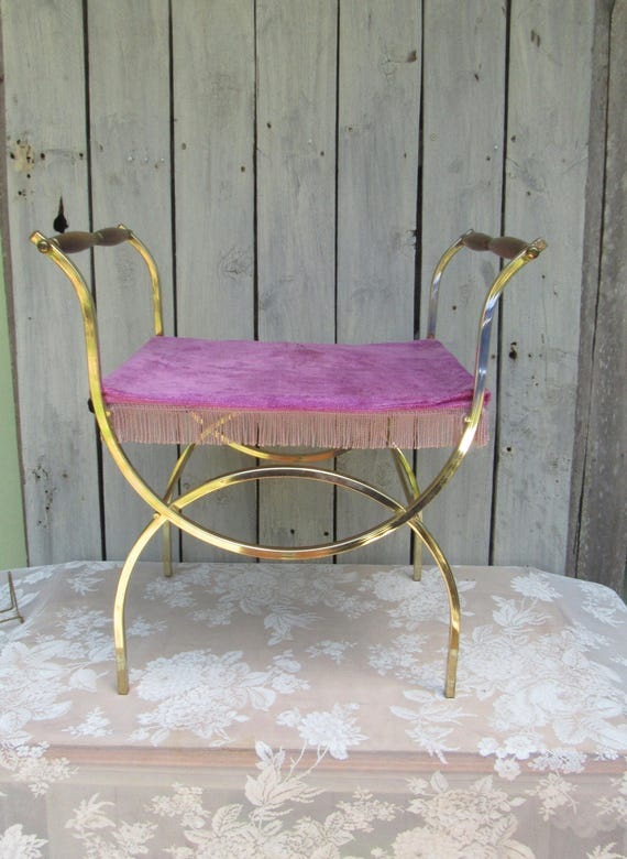 hollywood regency pink fringe vanity chair shabby chic