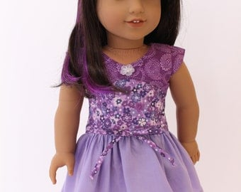 18 inch girl doll clothes - Cute and spunky purple hue dress