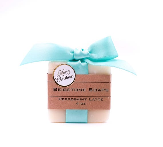 Christmas Bar with Band and Turquoise Bow | 4oz | Choice of SIX HOLIDAY SCENTS!