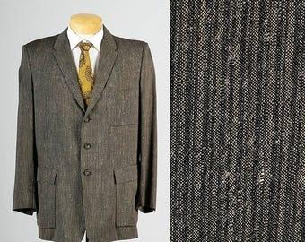 SALE Mens Vintage 50s Silk Wool Silver Black Gray Striped Jacket Sportcoat Blazer Atomic Fleck43L