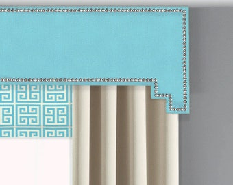 Cornice Board Pelmet Box Window Treatment in Aqua Mandarin Blue Fabric with Nail Head Trim - Step Step Cornices by Designer Homes