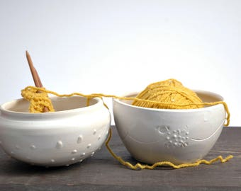 Ceramic Knitting Bowl ,white ceramic Yarn Bowl, Yarn bowl with lid