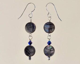 Black Lip Shell Drop Earrings Spring Summer Jewelry Gift for Her Swarovski Crystal Artisan Beach Organic Rainbow Blue Sterling Silver Dangle