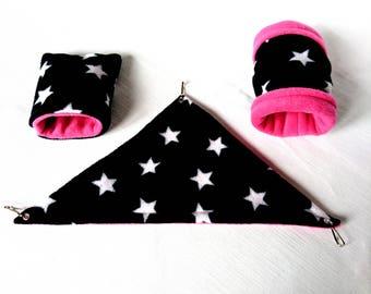 Fleece Cage Set (Corner Hammock / Tunnel / Sleeping Bag) for Russian / Dwarf / Roborovski Hamster (Black & White Stars / Hot Pink)