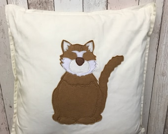 Ginger cat - cream cotton canvas Cushion with a tail