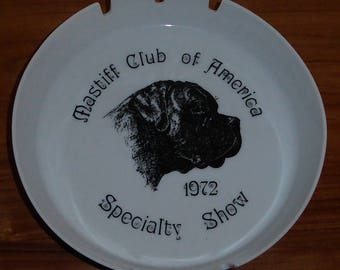 Mastiff Club of America 1972 Specialty Show American Kennel Club AKC White Porcelain Dog Breed Collector Round Cigarette Ashtray