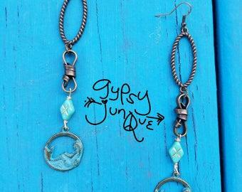 Mermaid Turquoise Beach Long Silver Antique Vintage Earrings