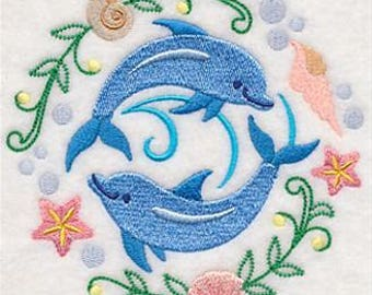 PAIR hand towels - dolphin sweetheart circle - EMBROIDERED 15 x 25 inch for kitchen or bath